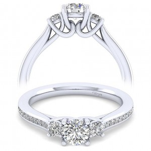 Taryn 14k White Gold Round 3 Stone Engagement Ring TE12221W44JJ