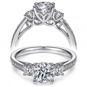 Taryn 14k White Gold Round 3 Stone Engagement Ring TE7281W44JJ
