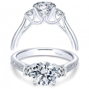 Taryn 14k White Gold Round 3 Stone Engagement Ring TE7474W44JJ
