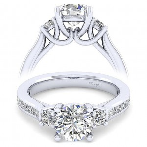 Taryn 14k White Gold Round 3 Stone Engagement Ring TE7475W44JJ