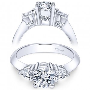 Taryn 14k White Gold Round 3 Stones Engagement Ring TE3819W44JJ