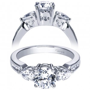 Taryn 14k White Gold Round 3 Stones Engagement Ring TE3842W44JJ