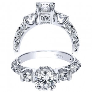 Taryn 14k White Gold Round 3 Stones Engagement Ring TE3844W44JJ
