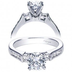Taryn 14k White Gold Round 3 Stones Engagement Ring TE3994W44JJ