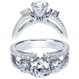 Taryn 14k White Gold Round 3 Stones Engagement Ring TE4252W44JJ