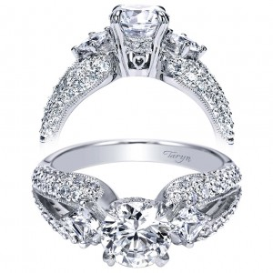 Taryn 14k White Gold Round 3 Stones Engagement Ring TE4353W44JJ