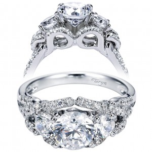 Taryn 14k White Gold Round 3 Stones Engagement Ring TE5333W44JJ