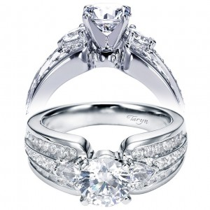 Taryn 14k White Gold Round 3 Stones Engagement Ring TE5683W44JJ