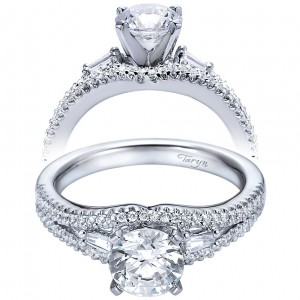 Taryn 14k White Gold Round 3 Stones Engagement Ring TE6012W44JJ