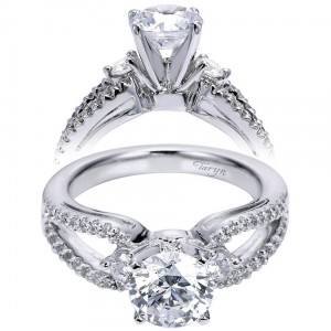 Taryn 14k White Gold Round 3 Stones Engagement Ring TE6015W44JJ