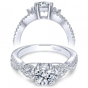 Taryn 14k White Gold Round 3 Stones Engagement Ring TE6022W44JJ