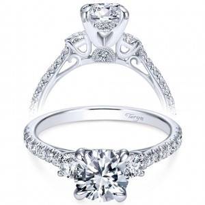 Taryn 14k White Gold Round 3 Stones Engagement Ring TE7477W44JJ