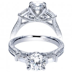 Taryn 14k White Gold Round 3 Stones Engagement Ring TE8798W44JJ
