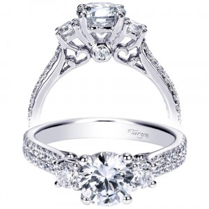 Taryn 14k White Gold Round 3 Stones Engagement Ring TE8973W44JJ