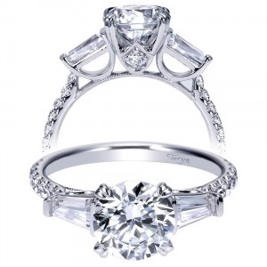 Taryn 14k White Gold Round 3 Stones Engagement Ring TE9045W44JJ