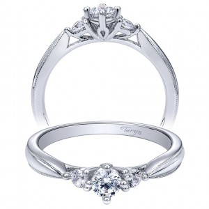 Taryn 14k White Gold Round 3 Stones Engagement Ring TE910070W44JJ