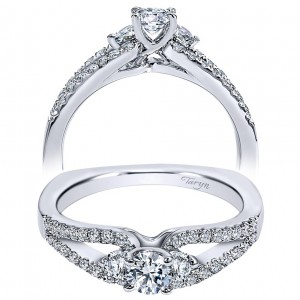 Taryn 14k White Gold Round 3 Stones Engagement Ring TE96088W44JJ