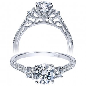Taryn 14k White Gold Round 3 Stones Engagement Ring TE98558W44JJ