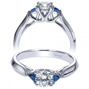 Taryn 14k White Gold Round 3 Stones Engagement Ring TE98685W44SA
