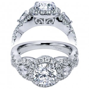 Taryn 14k White Gold Round 3 Stones Halo Engagement Ring TE6026W44JJ