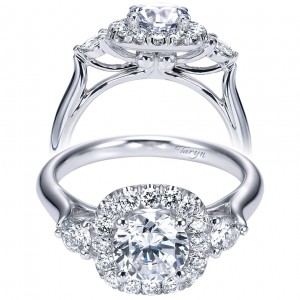 Taryn 14k White Gold Round 3 Stones Halo Engagement Ring TE6990W44JJ