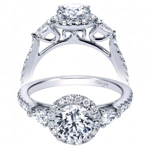 Taryn 14k White Gold Round 3 Stones Halo Engagement Ring TE7506W44JJ