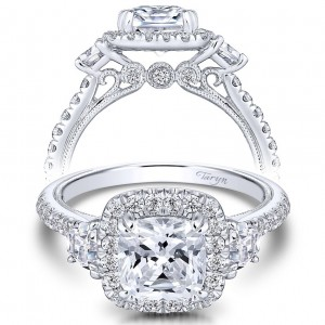 Taryn 14k White Gold Round 3 Stones Halo Engagement Ring TE9187W44JJ