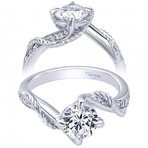 Taryn 14k White Gold Round Bypass Engagement Ring TE10265W44JJ