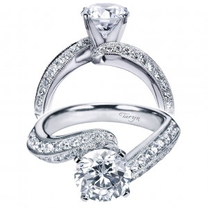 Taryn 14k White Gold Round Bypass Engagement Ring TE6070W44JJ