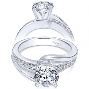Taryn 14k White Gold Round Bypass Engagement Ring TE6078W44JJ