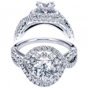 Taryn 14k White Gold Round Double Halo Engagement Ring TE6964W44JJ