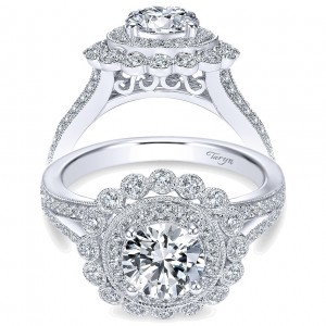 Taryn 14k White Gold Round Double Halo Engagement Ring TE7542W44JJ