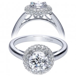 Taryn 14k White Gold Round Double Halo Engagement Ring TE7821W44JJ