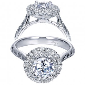 Taryn 14k White Gold Round Double Halo Engagement Ring TE7827W44JJ