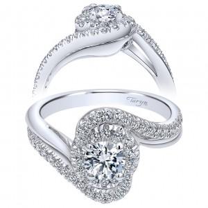 Taryn 14k White Gold Round Double Halo Engagement Ring TE910084W44JJ