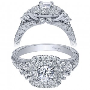 Taryn 14k White Gold Round Double Halo Engagement Ring TE910086W44JJ