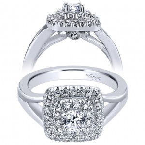 Taryn 14k White Gold Round Double Halo Engagement Ring TE910089W44JJ
