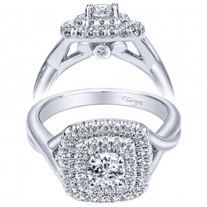 Taryn 14k White Gold Round Double Halo Engagement Ring TE910090W44JJ