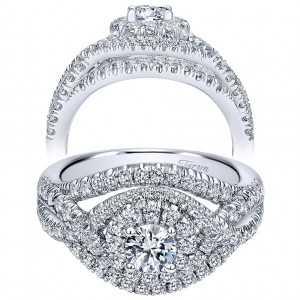 Taryn 14k White Gold Round Double Halo Engagement Ring TE910093W44JJ