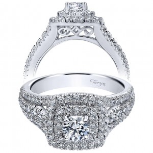 Taryn 14k White Gold Round Double Halo Engagement Ring TE910094W44JJ