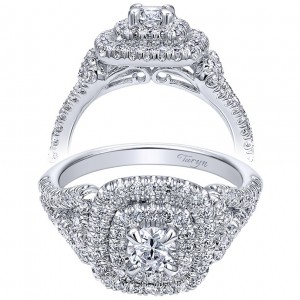 Taryn 14k White Gold Round Double Halo Engagement Ring TE910098W44JJ