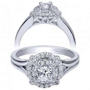 Taryn 14k White Gold Round Double Halo Engagement Ring TE910143W44JJ