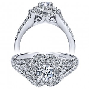Taryn 14k White Gold Round Double Halo Engagement Ring TE910146W44JJ