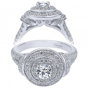 Taryn 14k White Gold Round Double Halo Engagement Ring TE910149W44JJ