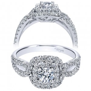 Taryn 14k White Gold Round Double Halo Engagement Ring TE910157W44JJ