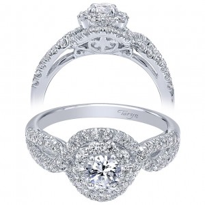Taryn 14k White Gold Round Double Halo Engagement Ring TE910158W44JJ