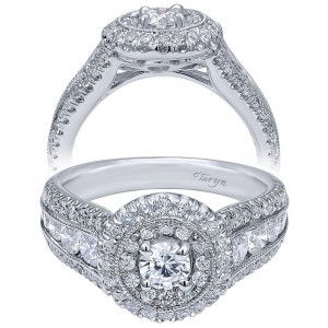 Taryn 14k White Gold Round Double Halo Engagement Ring TE910164W44JJ