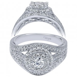 Taryn 14k White Gold Round Double Halo Engagement Ring TE910425W44JJ
