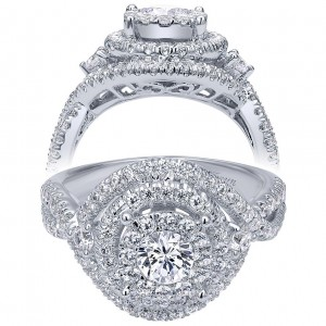 Taryn 14k White Gold Round Double Halo Engagement Ring TE910427W44JJ