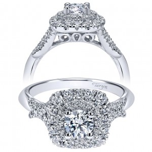 Taryn 14k White Gold Round Double Halo Engagement Ring TE911710R2W44JJ